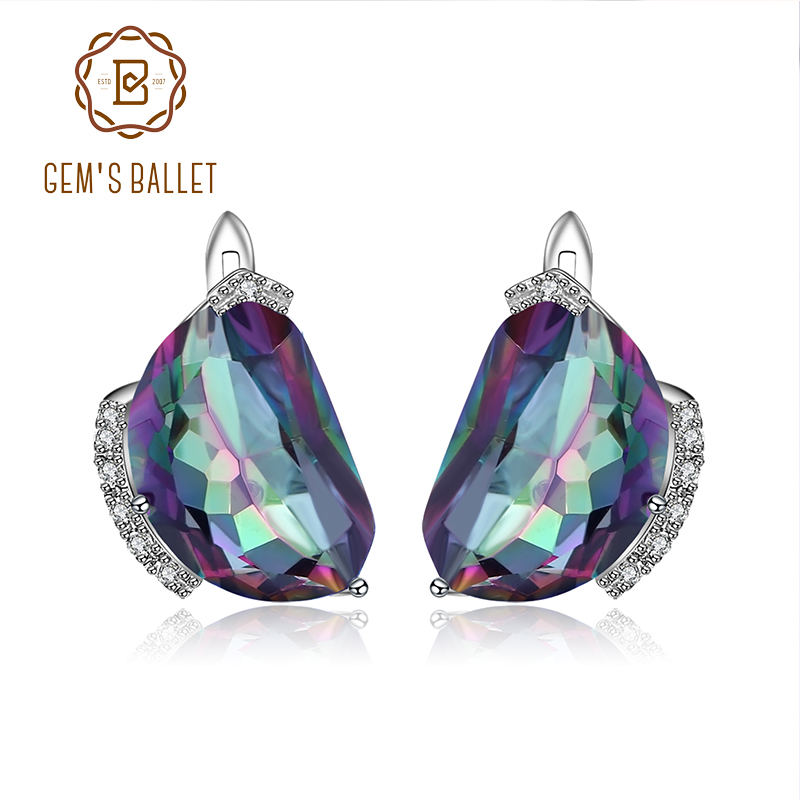 GEM S BALLET Natural Rainbow Mystic Quartz Stud Earrings Solid 925 Sterling Silver Multicolor Earrings For