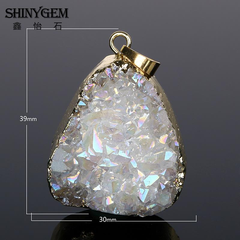 ShinyGem Natural Druzy Crystal Pendant Gold Edge Irregular Crystal - Bisutería - foto 2