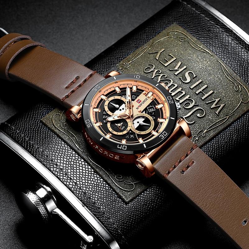 Man Watch Mens Top Brand Luxury Leather Quartz Automatic Date Clock Male Army Military Waterproof Wrist Watch NAVIFORCE Sports