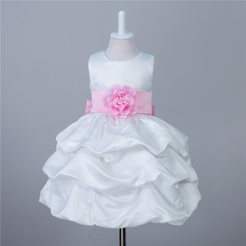 Fashion cute children dresses for party and wedding satin balls size 6 girls party clothes 2017 white kids puffy dresses детский костюм ielts and children s clothes bx006 2015 1 6