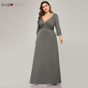 Image 3 - Artı boyutu basit gri abiye uzun hiç güzel v yaka tam kollu zarif resmi elbiseler EP07995 Vestidos De Festa 2020