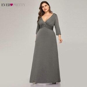 Image 3 - Vestidos De Noche grises sencillos De talla grande, manga larga con cuello en V, Vestidos elegantes formales, EP07995, para fiesta, 2020