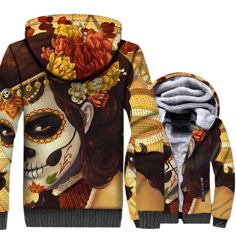 Women Face 3D Print Jacket Witch Skull Faces Art Hoodie Men Vintage Hooded Sweatshirt Mens Winter Thick Fleece Multicolor Coat