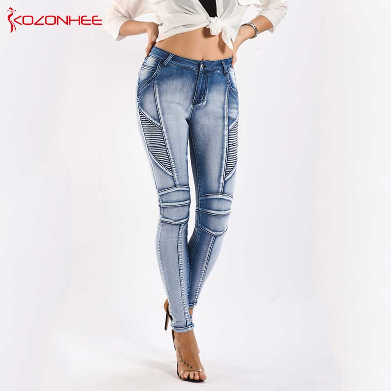 Fashion Stretch Motorcycle Jeans Women Mid-Waist Female Elasticity Women's Tights Skinny Pencil Jeans Plus Size #73