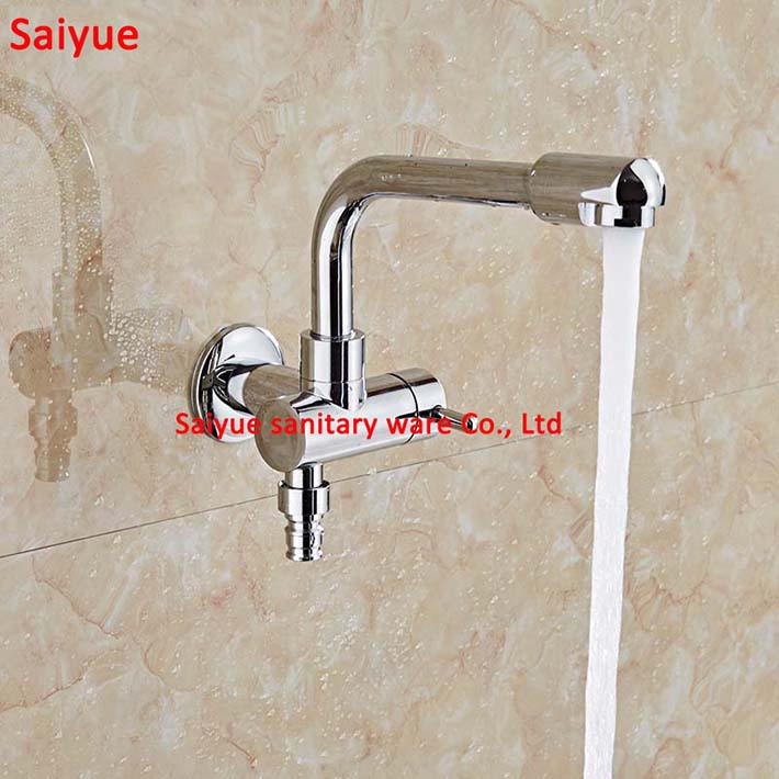 720 Degree Rotate Various function Improved Solid Brass Cross Garden Outdoor Faucet washing machine Mop tap with ceramic chrome
