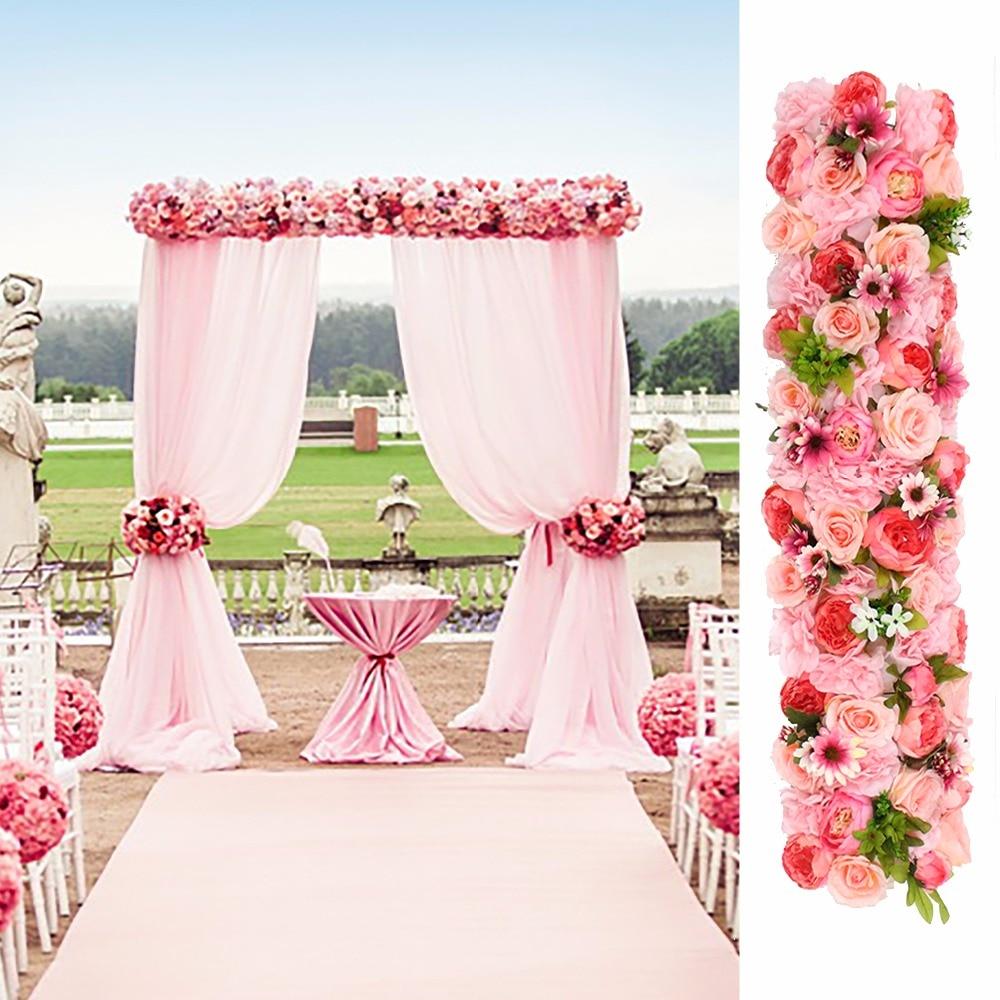 Wedding Stage Flower Decoration: 3 Meter Length Artificial Silk Rose Flower Strip Wedding