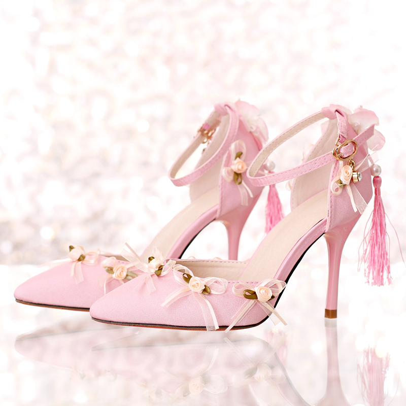 Pink satin fabric pointed toe ultra high heels wedding shoes tassel thin heels lace flower bridal