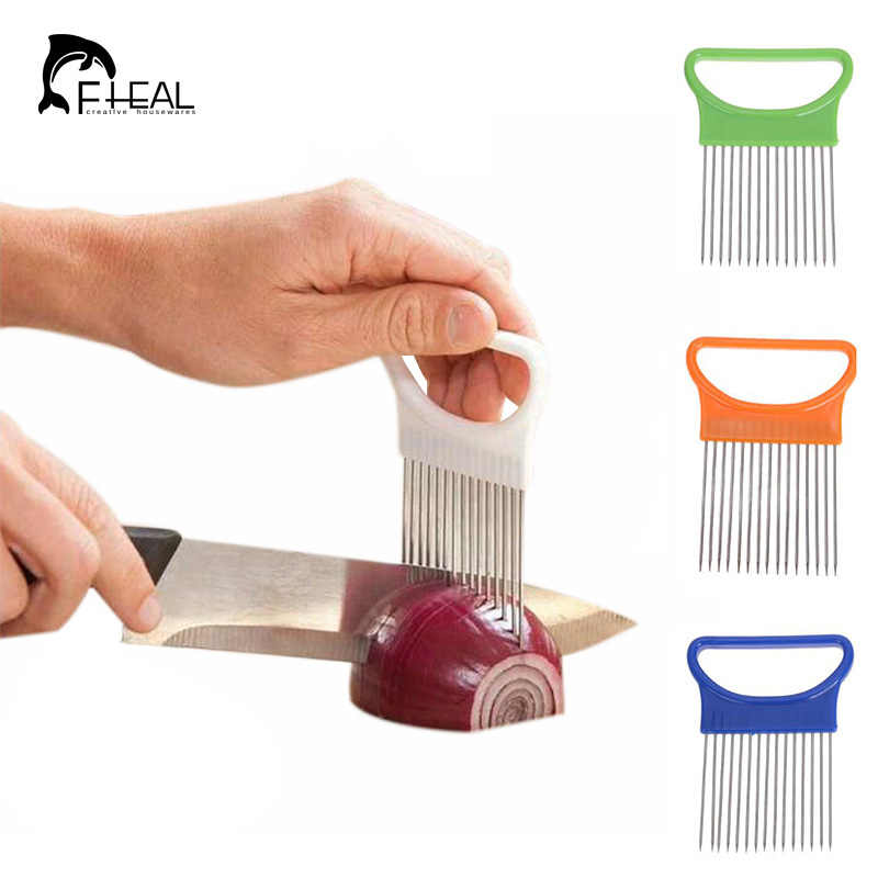 FHEAL Easy Cut Onion Holder Fork Stainless Steel +Plastic Vegetable Slicer Tomato Cutter Metal Meat Needle Kitchen Accessories