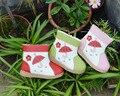 Botas genuina niñas de cuero forro de felpa flores paraguas en hierba zapatos de la diversión rojo rosa verde color de invierno nueva colección