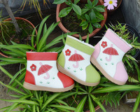 Girls Boots Genuine Leather Plush Lining Umbrella Flowers On Grass Fun Shoes Red Pink Green Color