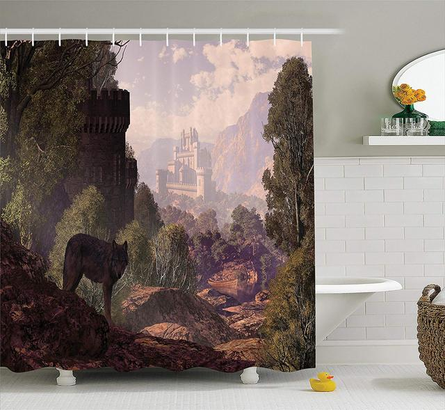 Woodland Shower Curtain A Wolf Coming Out Of The Woods With Gothic Castle Lake Boat Off In Distance Bathroom Decor