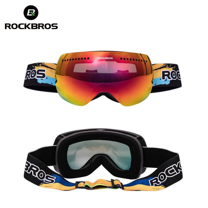 ROCKBROS Lunettes de Ski Lunettes Double Couches Coupe-Vent Ski Anti-brouillard UV400 Snowboard Lunettes Pour homme femme Grand Masque de Neige - 2