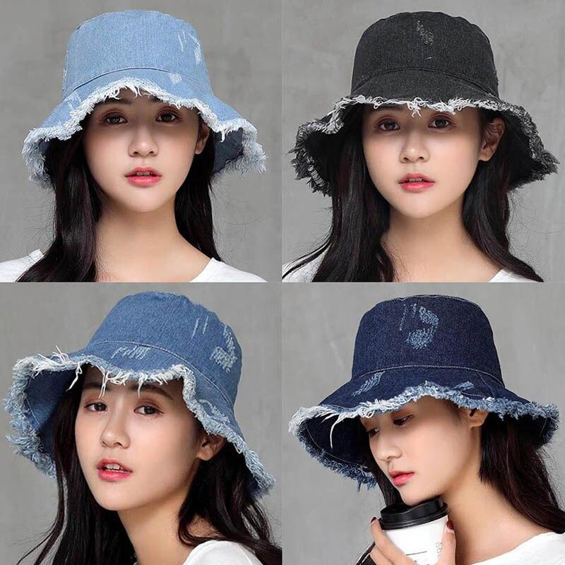 9b087b3d Womens Denim Bucket Hat Male Korean Style Casual Cowboy Fishing Caps ...
