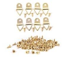 100 шт./компл. Универсальный сильный золотые кольца d-формы Декор Подвеска для картинных рам на крючках Треугольники с 100 шт. винты помощник