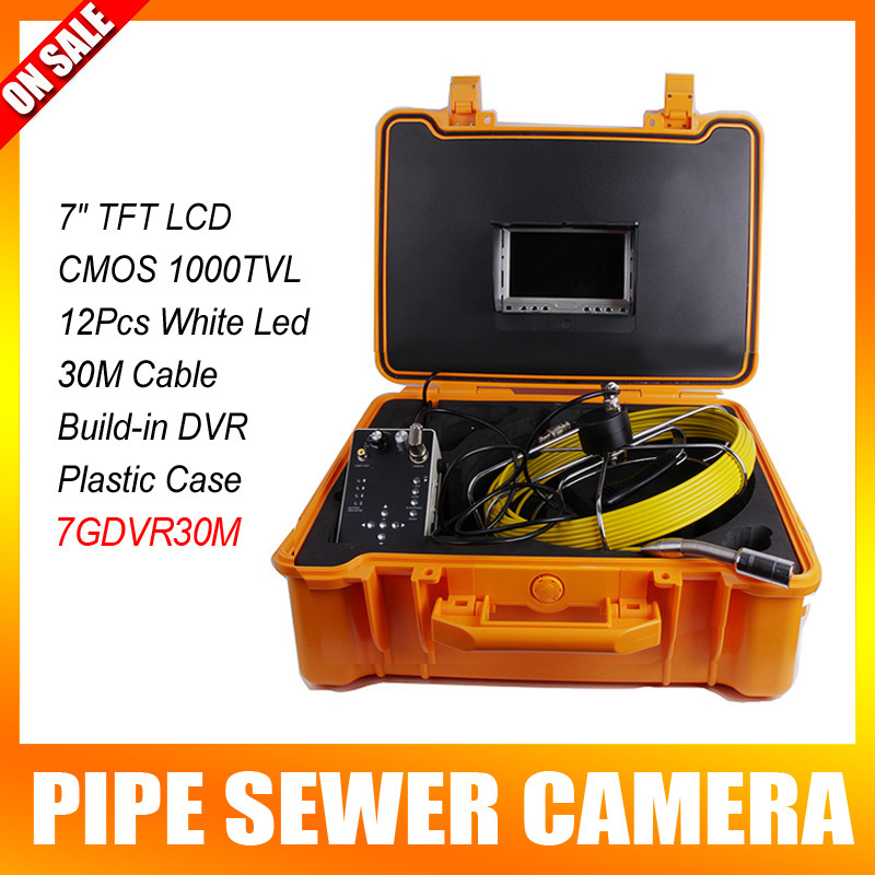 30M Fiber Glass Cable Sewage Pipeline Sewer Pipe Inspection Camera With DVR Function Carrying Case With 7'' Digital LCD Monitor drain sewer wall cave pipe inspection dvr camera pipe endoscope borescope 20m 50m cable pipeline sewage snake camera