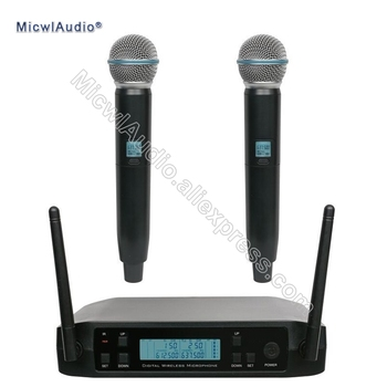 UHF 2 Channel Dynamic Handheld Omnidirectional Wireless Microphone System Frequency Adjustable Perfect For Stage Karaoke