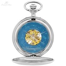 KS Twelve Constellations Vingtage Silver Skeleton Analog Horloge Mechanical Clock Business Men Key Pendant Pocket Watch / KSP098 цена