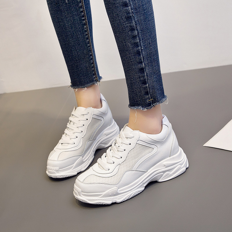 Cross Training Shoes Walking Arder Shoes For Women Leather Sport Shoes Soled Sneakers Allmatch Students Flat Shoes Fitness