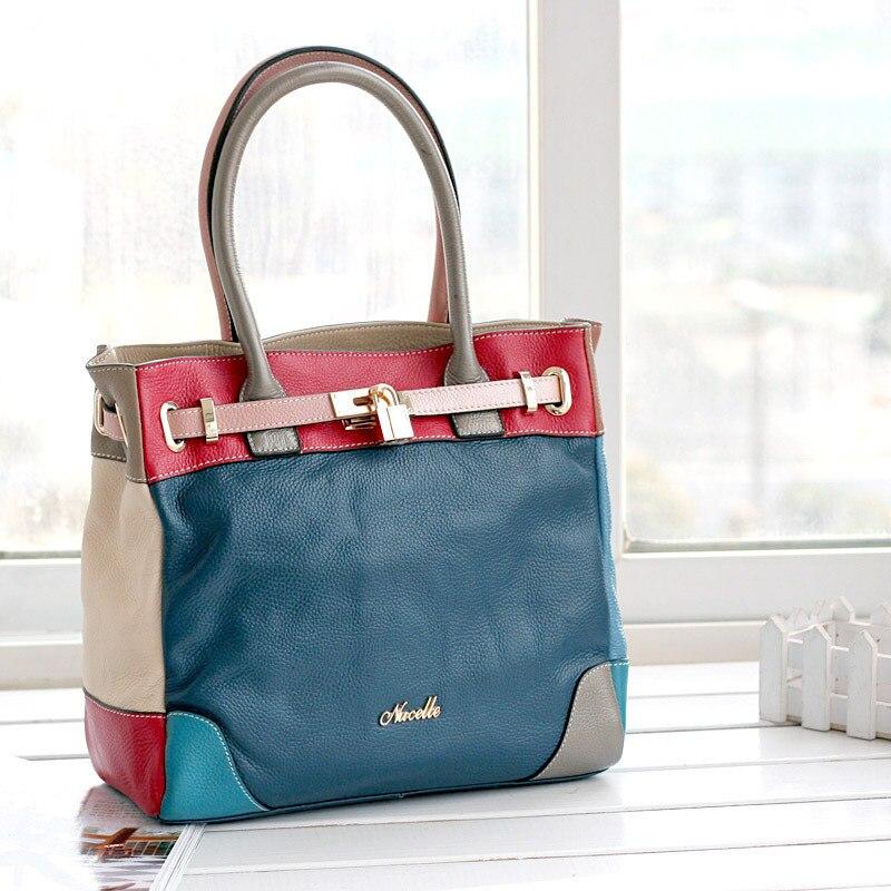 2012 genuine leather bag for women fashion color block bags platinum cowhide bag messenger bag