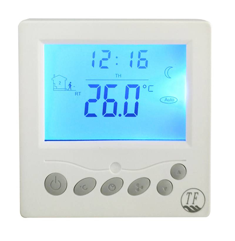 Floor heating thermostat AC220V +-15% with blue back light, rated current 20A light blue cutout back