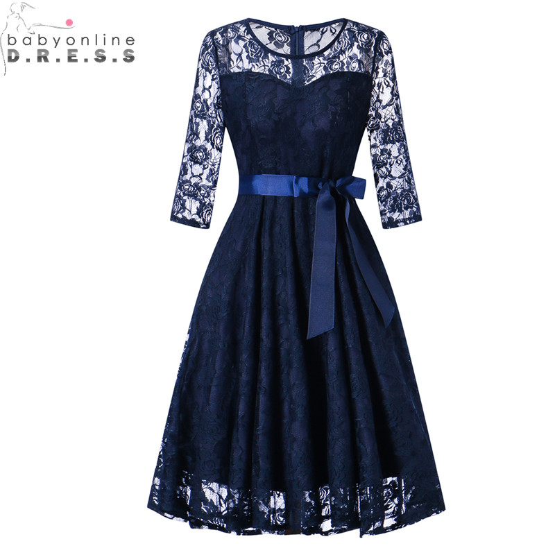 Babyonlinedress Vintage Three Quarter Sleeve Short Lace   Evening     Dress   Cheap Party   Dresses   with Sashes Robe de Soiree Courte