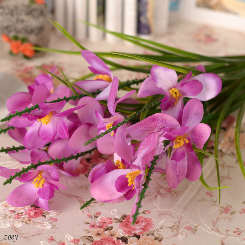 Colors artificial silk freesia fake cattleya orchids