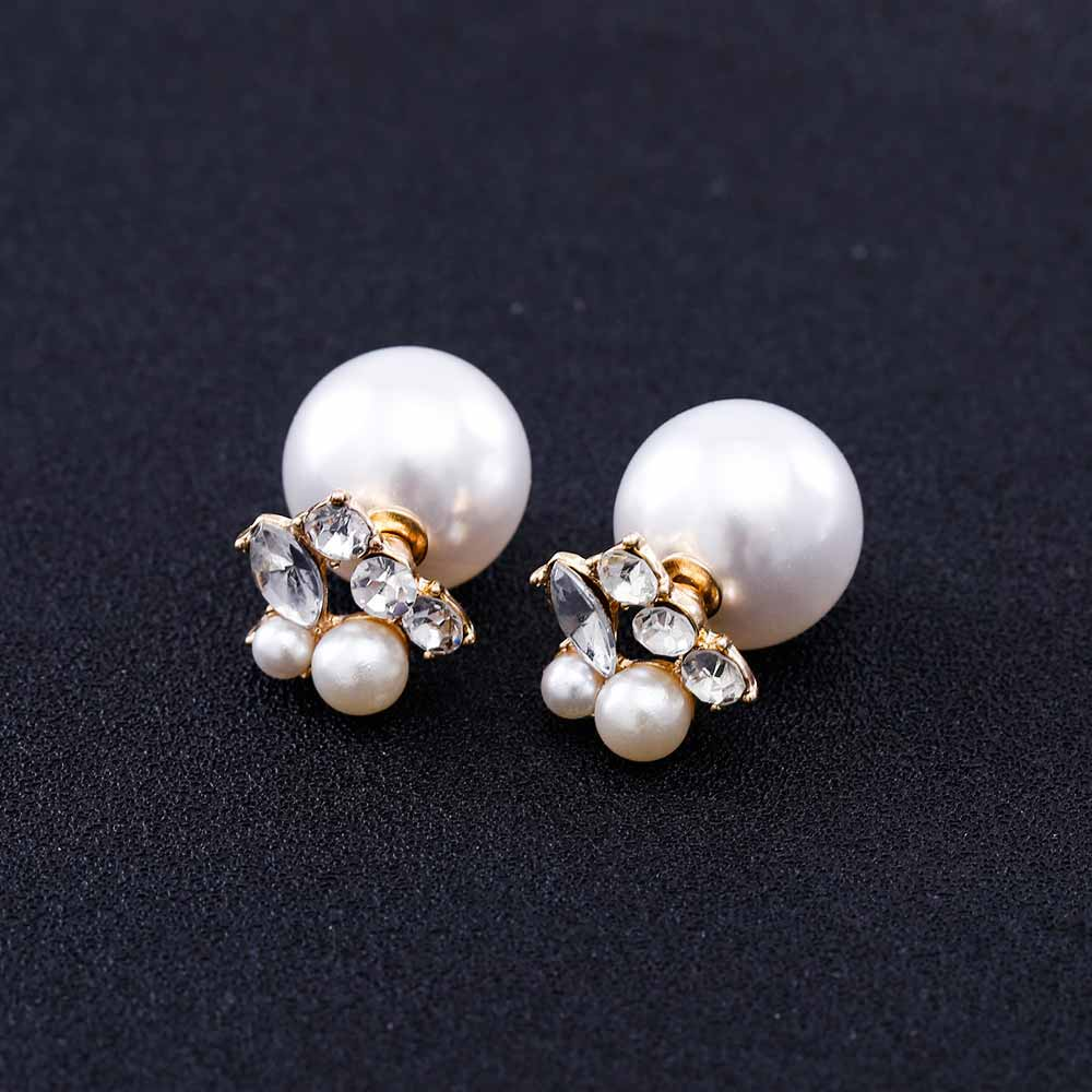 96ec3044ebf27 Aliexpress.com : Buy KISSWIFE Wholesale 2018 Fashion Jewelry Women Pearl  Earrings Double Sided Ball Crystal Pearl Stud Earrings For Women Girl from  ...