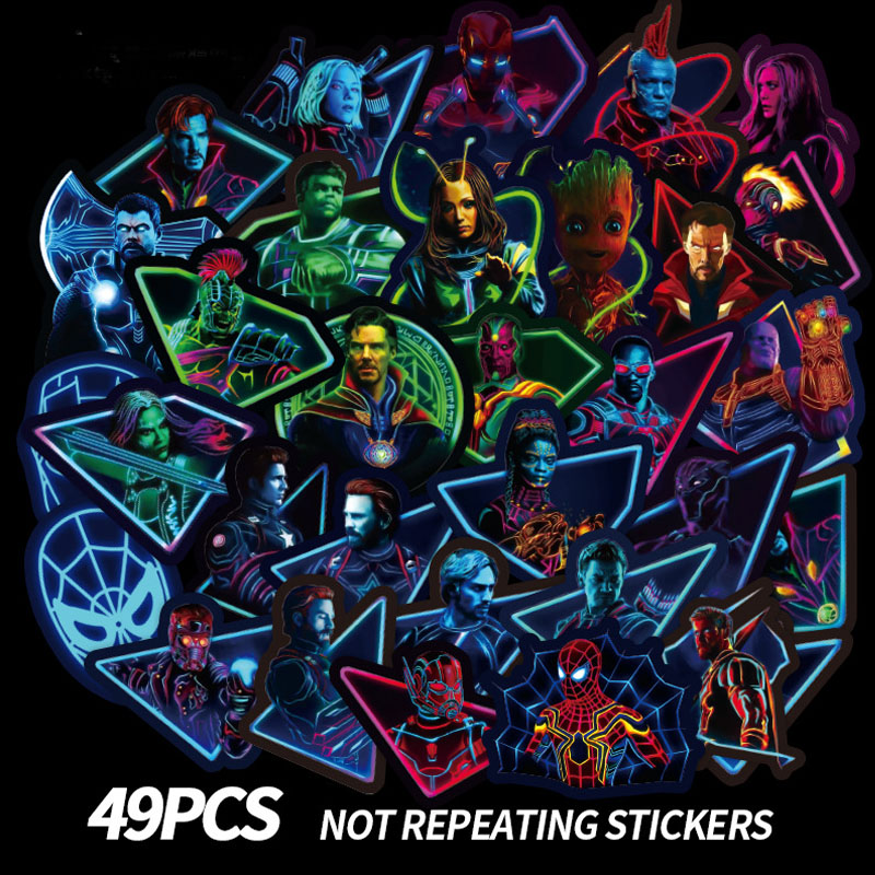 49 piezas los Vengadores superhéroes Marvel de dibujos animados etiqueta engomada impermeable de accesorios para Moto Skateboard DIY Thanos Accesorios
