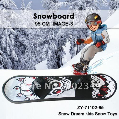 "Hot Sale Free Shipping Kids Winter Popular ""ROAD""Ski Snowboard (WHITE&BLUE /95cm/10PCS/CTN/Simple footstrap)"