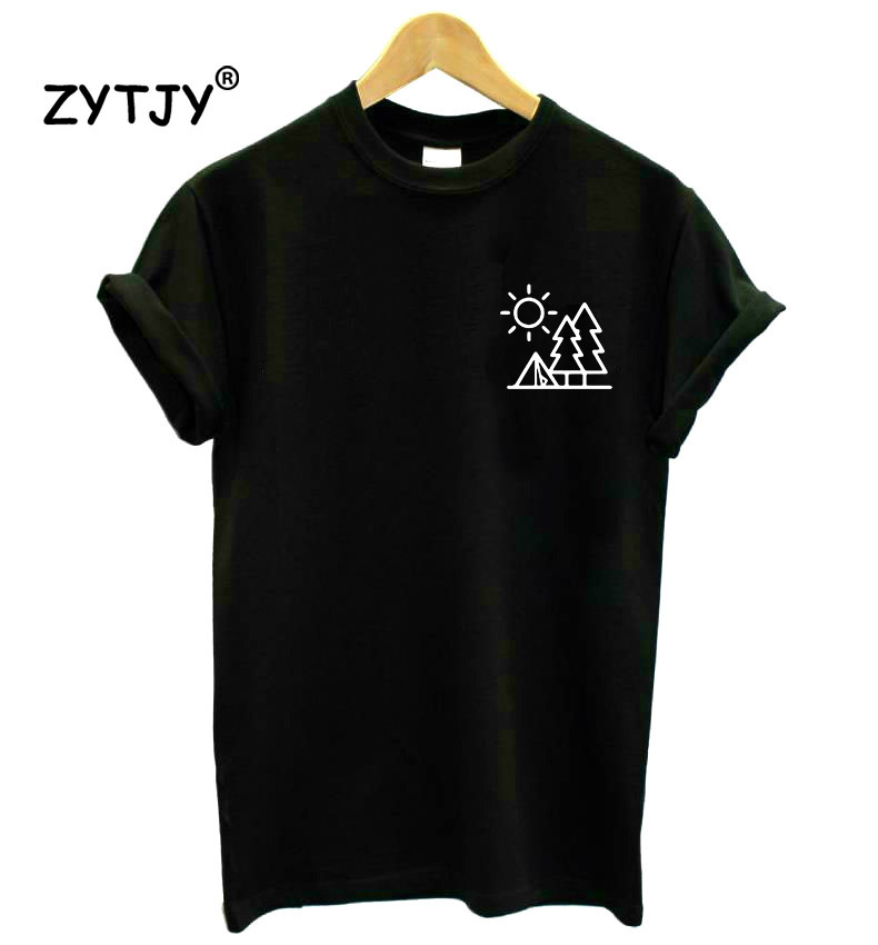 Forest Camping Pocket Women Tshirt Cotton Casual Funny T Shirt Lady Yong Girl Higher Quality Top Tee Drop Ship S-504