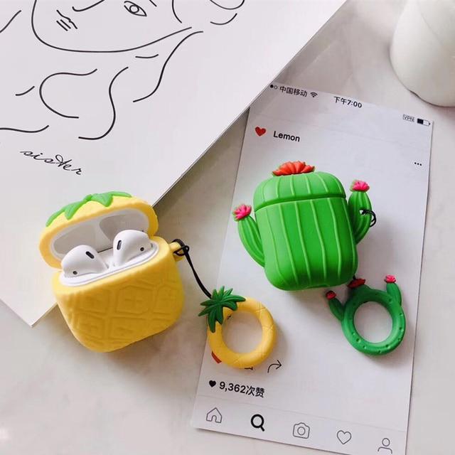 3D Kawaii Cactus Abacaxi Caso Para Caso Tampa Da Caixa Do Silicone Para O Caso Airpods Airpods 2 Chaveiro Chave Anel De Fone De Ouvido Fones de Ouvido cobrir