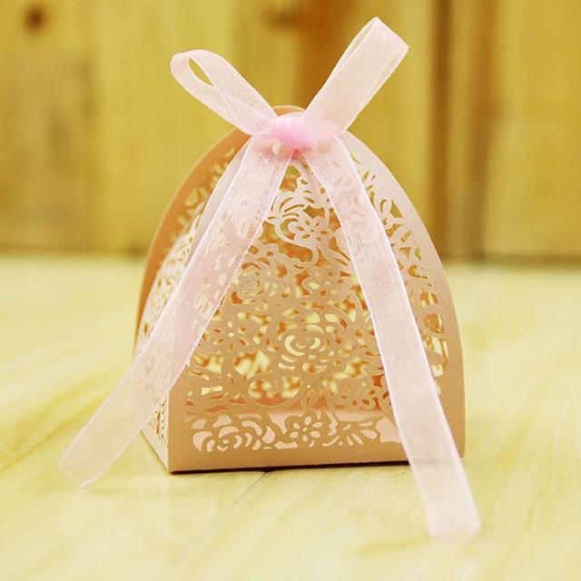 50pcs Lace Flower Candy Box Classic Pink White Candy Box Wedding