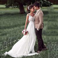 ローリービーチウェディングドレスヴィンテージレーストップセクシーなアイボリーブライダルドレスアップリケ A ラインシフォンスカート花嫁のドレスのウェディングドレス
