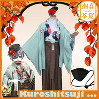 [STOCK]Anime Kuroshitsuji Black Butler figure Ciel Tee House Kimono Dress +Hat+eyemask Halloween cosplay costume for Adult NEW