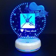 Zegar Led lampka nocna zdalny i dotykowy przełącznik sterujący 7 kolorów wymienna lampka na biurko lampe oświetlenie dekoracji domu
