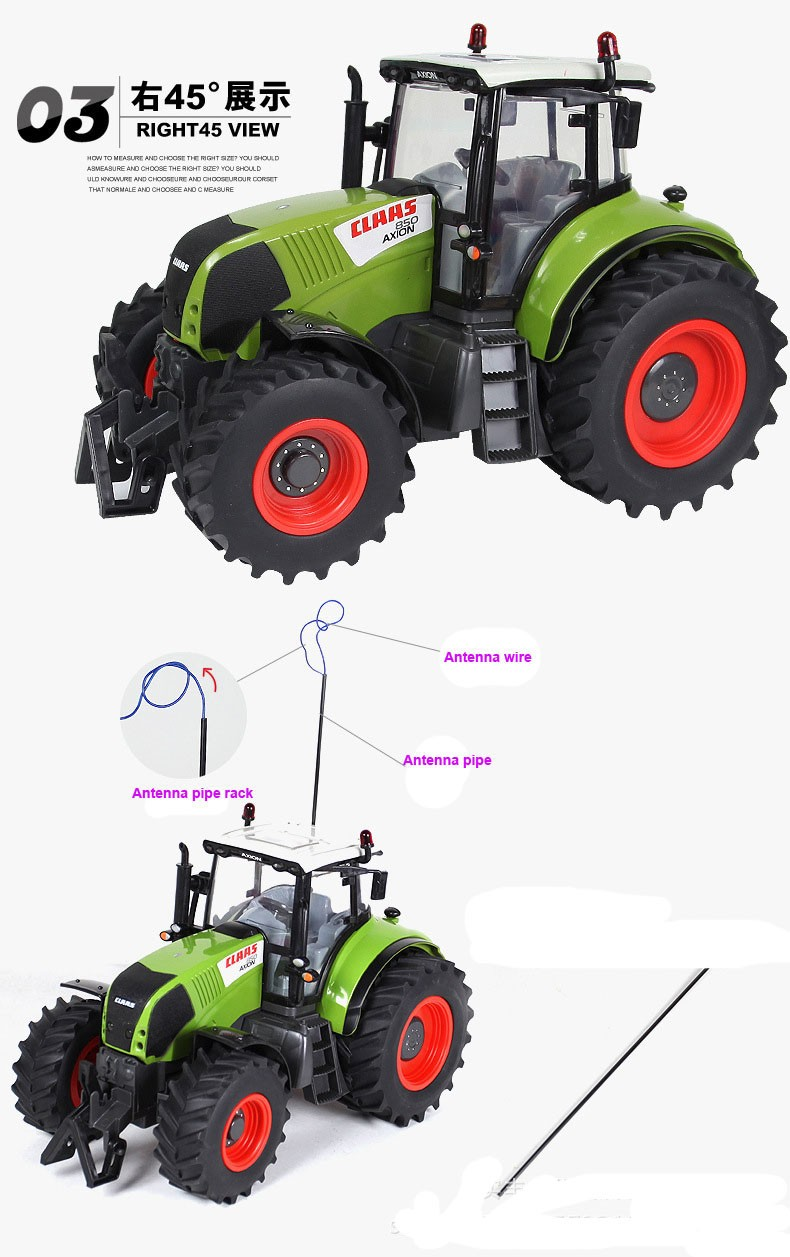 Hot Sale Voiture Telecommande Carrinho De Controle Remoto 1:16 Oversized Radio Remote Control Car Farmer Tractor Kids Toy 4