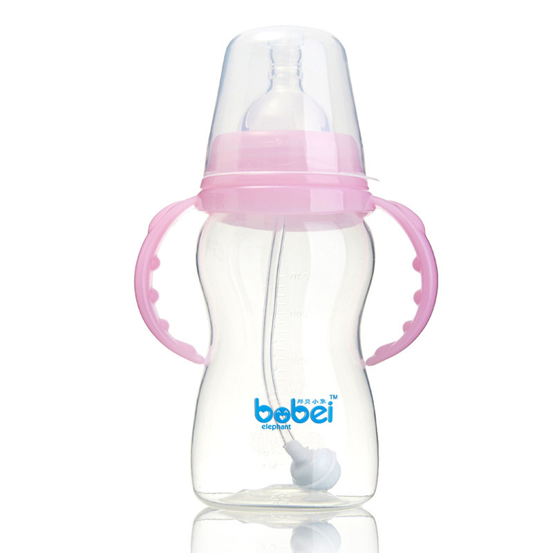 240ml Baby Width Mouth Gourd shape Milk Feeding Bottle PP Material with Handle Straw Green Blue