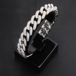 Image 5 - TOPGRILLZ Newest Lock Clasp 14mm Hip Hop Iced Out Bling CZ Men Bracelet 7 8 9 Inch Miami Cuban Link Bracelets Hiphop Jewelry