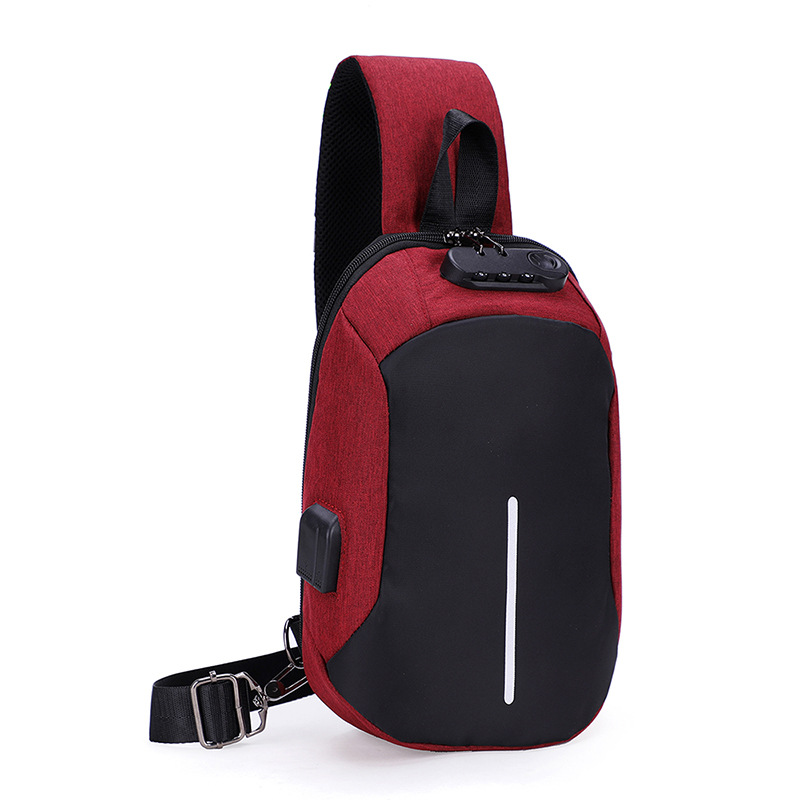 Cross Border for New Style Anti Theft Lock Men 39 s Chest USB Charging Sling Bag Crossbody Bag Tide Cool Style Multipurpose Bag