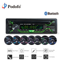 Podofo 12V Bluetooth Car Stereo FM Radio MP3 Audio Player USB AUX FM Radio Station Bluetooth Remote Control 1DIN Autoradio Audio