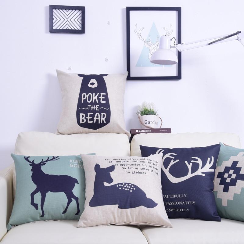 Nordic style Forest deer elk throw pillow cover case cotton linen animals cushion cover for sofa home decor capa de almofadas