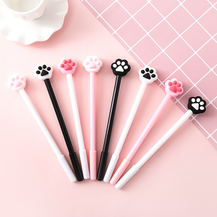 40 Pcs/lot Creative Cat Paw Gel Pen Lovely Pink Heart 0.5mm Black Ink Signature Pen School Office Supply Promotional Gift|Banner Pens| |  - title=