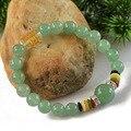 Счастливый Камень Браслет мантра четки природный авантюрин нефрит браслет браслеты для женщин bracelete природного камня 0286