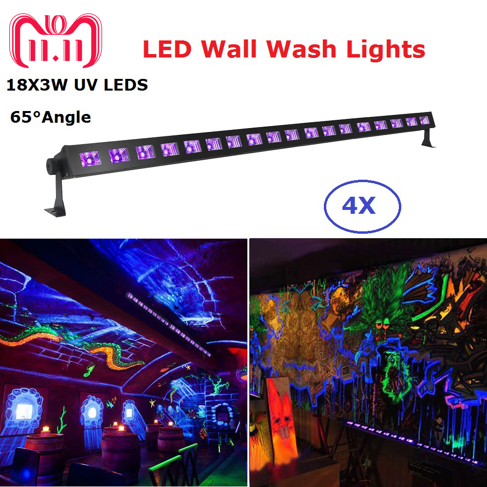 4Pcs/Lot Newest 18LEDS 3W Wall Washer LED UV Stage Light Bar Black Party Club Disco Light For Christmas Indoor Stage Dj Lights led uv color bar wall washer light 8x3w bar laser projection lighting party club disco light for christmas indoor stage lights