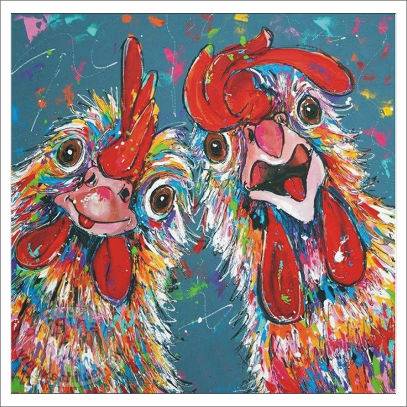 Fashion Diamond Embroidered Cross Stitch Set 5D DiY Diamond Painting Multicolored Rooster Poster Mosaic Wall Sticker T024