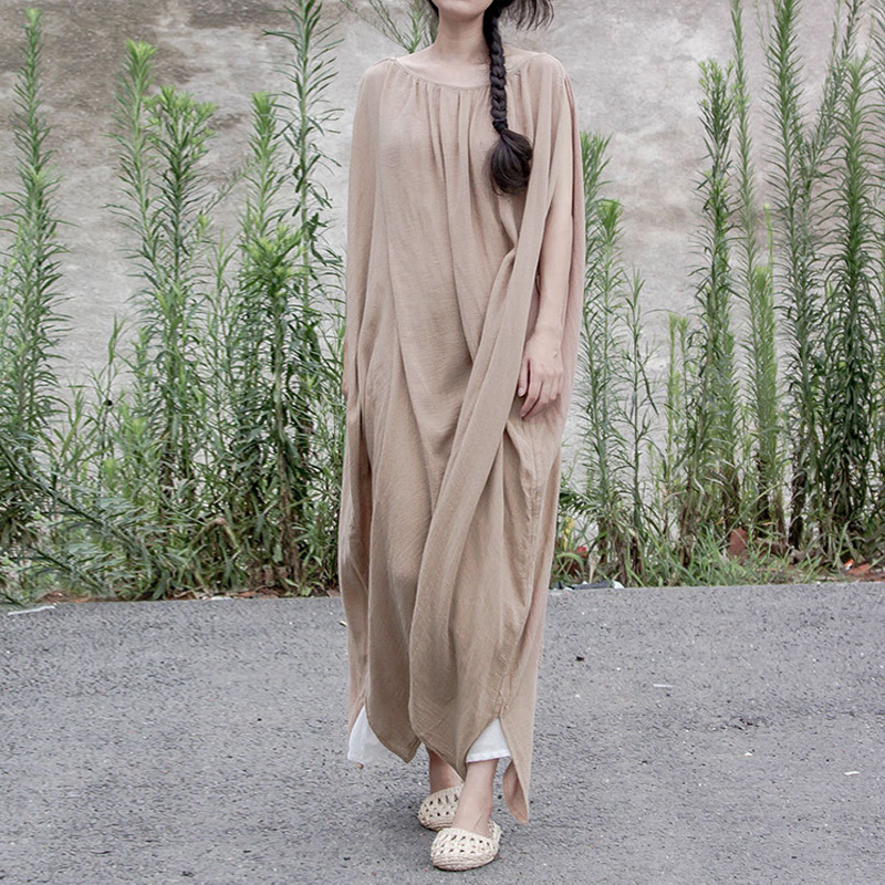 Johnature Summer Vintage Women Dress 2019 New Cotton And Linen Irregular Robes Khaki O Neck Plus
