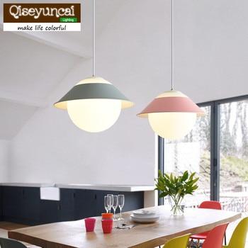 Qiseyuncai 2018 Nordic restaurant glass chandelier single head ball color bar table lamp simple modern bedroom study room lamps