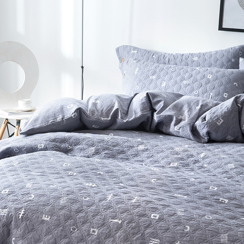 2018 New Washed Cotton Quilted Modern Style Sheet Pillowcase & Duvet Cover Sets Home Bedding 4 / Pcs Set / 3 Sizes Global Sales