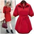 Nueva Primavera para mujer vestidos de Verano 2016 Plus Size Slim Oficina de Solapa lino negro rojo corto dress sub ete bata vestido de tirantes moda mujer