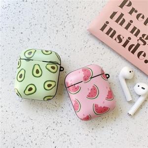 Image 2 - חמוד אבוקדו אבטיח מט נרתיקי אוזניות עבור אפל אלחוטי Bluetooth אוזניות Airpods 1 2 הגנת עור אביזרי כיסוי